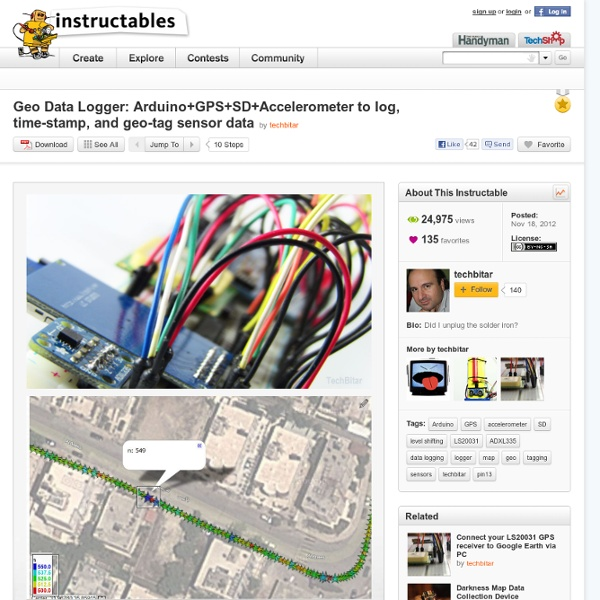 Geo Data Logger: Arduino+GPS+SD+Accelerometer to log, time-stamp, and geo-tag sensor data