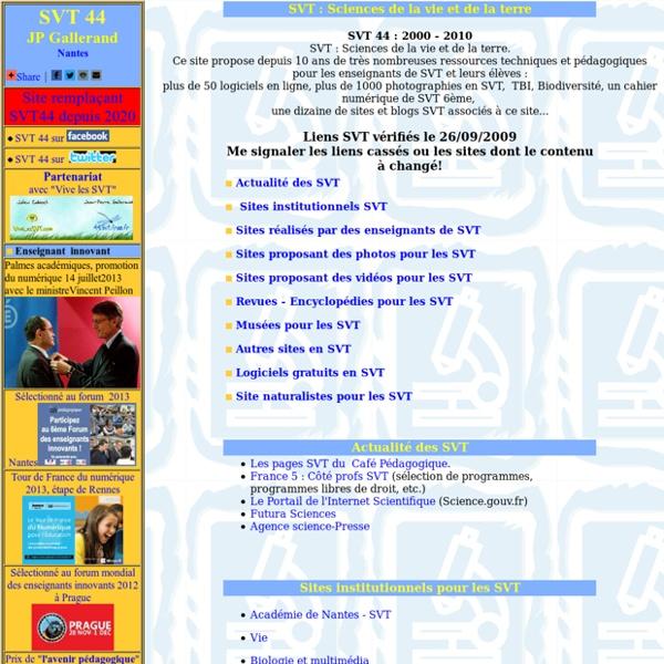 SVT 44 : logiciels, animations, vidéos, photos, cours ... en SVT)