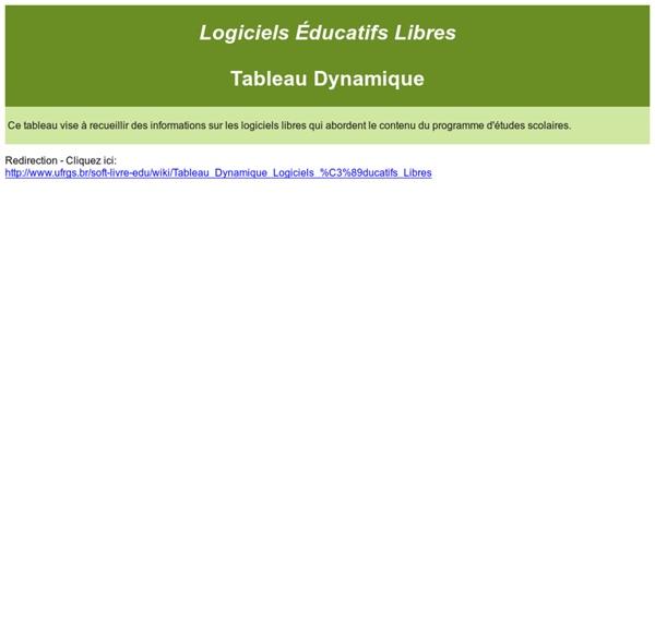 Logiciels Éducatifs Libres - Tableau Dynamique