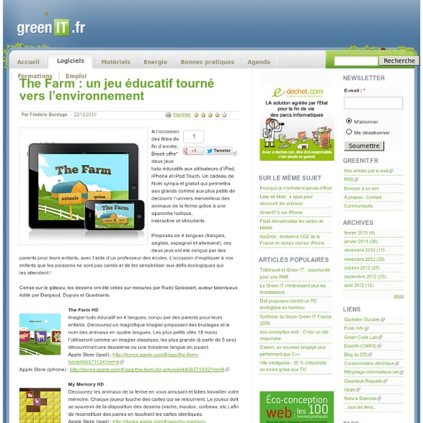 The Farm : un jeu éducatif tourné vers l'environnement