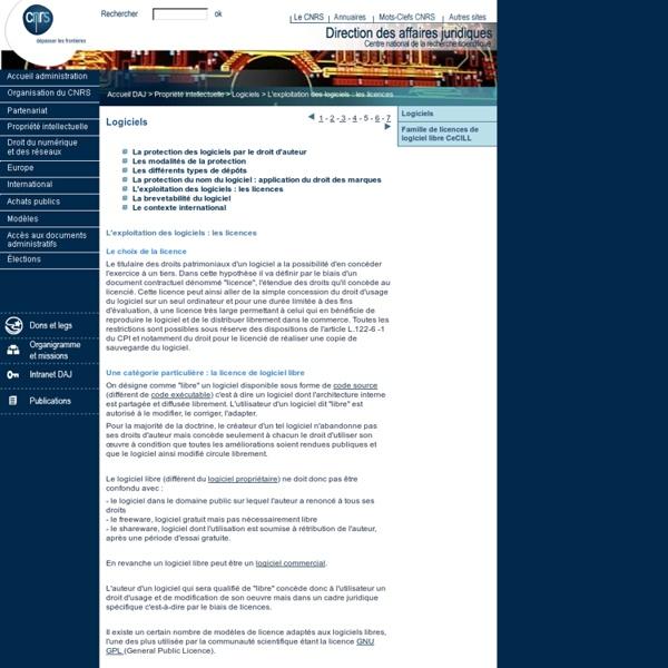 DAJ : Logiciels : L'exploitation des logiciels : les licences
