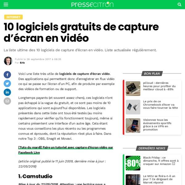 10 logiciels gratuits de capture d'écran vidéo - Presse Citron