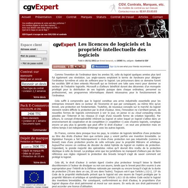Les licences de logiciels et la propriété intellectuelle des logiciels