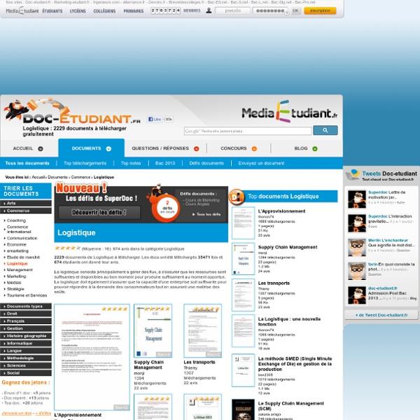 Logistique : 1372 documents à télécharger gratuitement