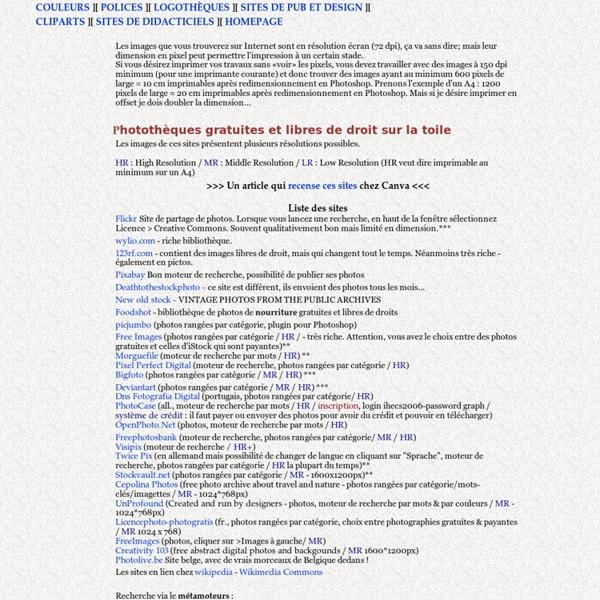 Banque de liens vers des sites de photos gratuites, libres de droit, logothèques, sites de didacticiels etc