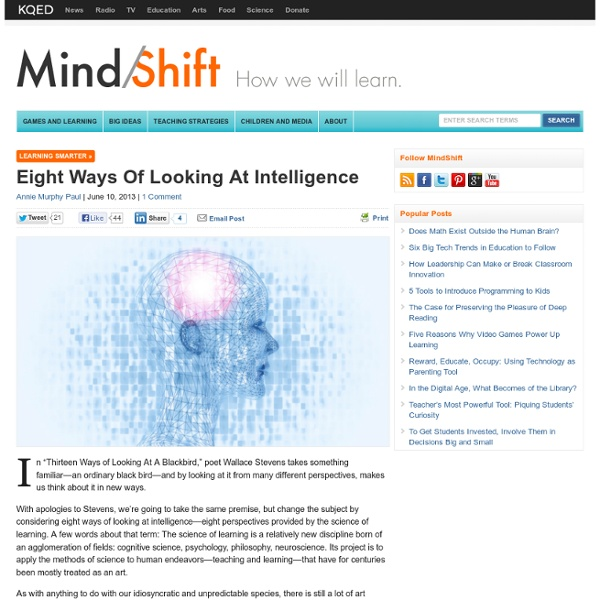 Eight Ways of Looking at Intelligence