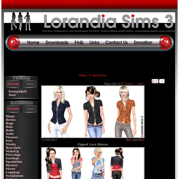 Lorandia Sims 3 - Clothing, Accessories, Makeup - Free Sims3 downloads