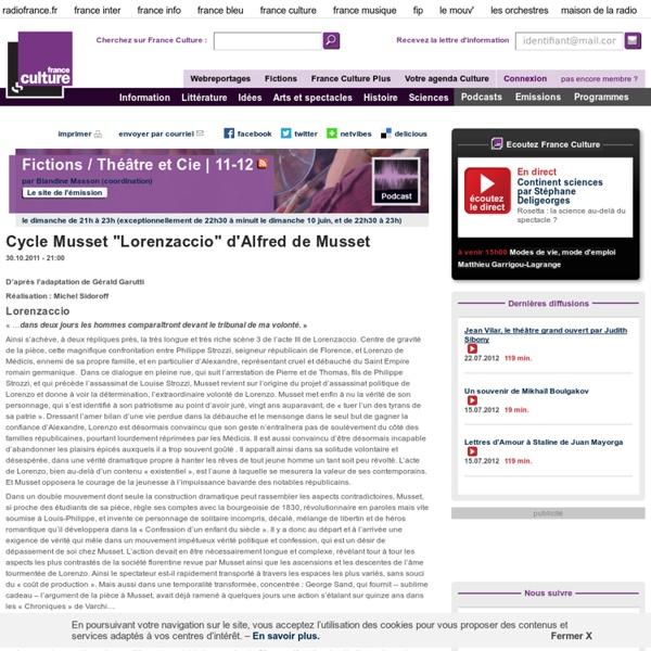 "Cycle Musset ""Lorenzaccio"" de Alfred Musset - Création Radiophonique"