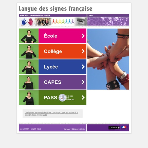 Langue des Signes Française - Ressources pour faire la classe