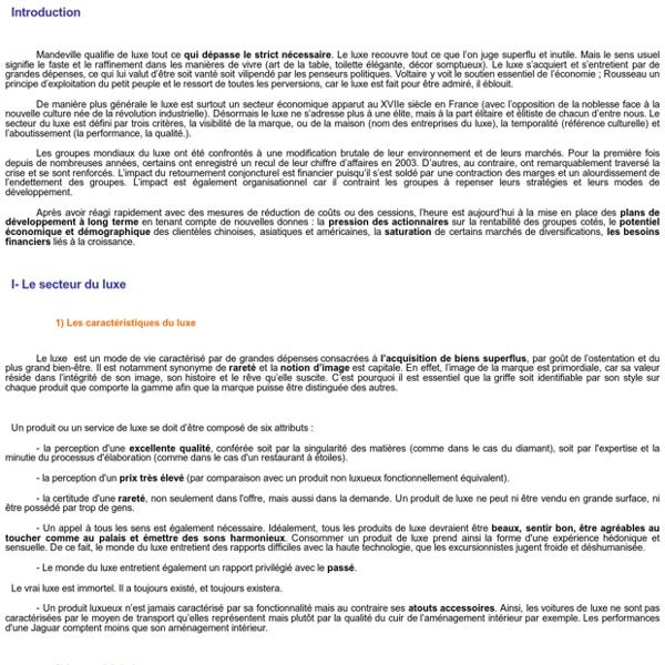 LVMH - PPR : le secteur du luxe