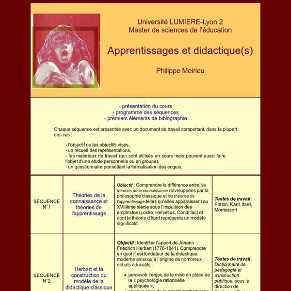 Apprentissage & didactique P. MERIEU Cours 2007-2008