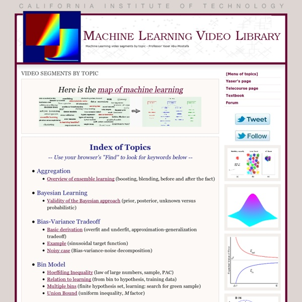 Machine Learning Video Library - Learning From Data (Abu-Mostafa)