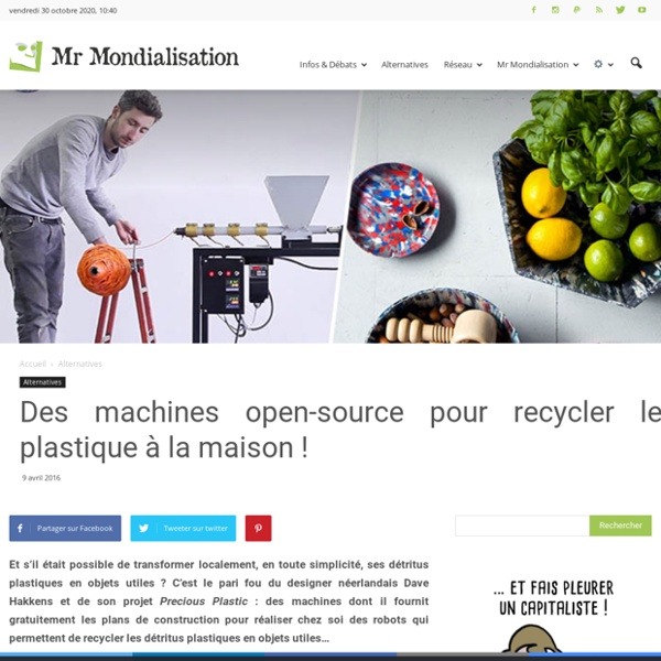 Des machines open-source pour recycler le plastique à la maison