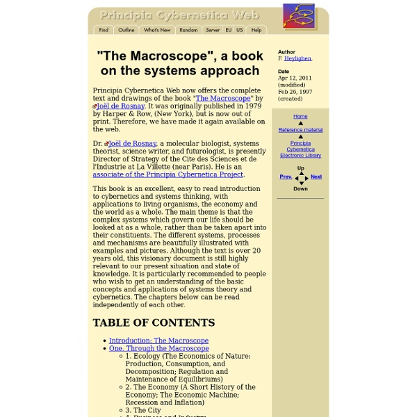 """The Macroscope"", a book on the systems approach"