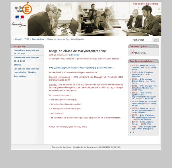 Usage en classe de Macyberentreprise - Académie-Toulouse
