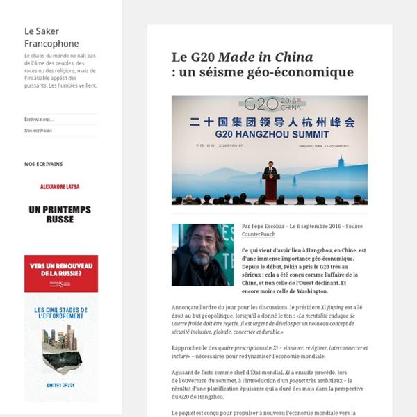 Le G20 Made in China : un séisme géo-économique