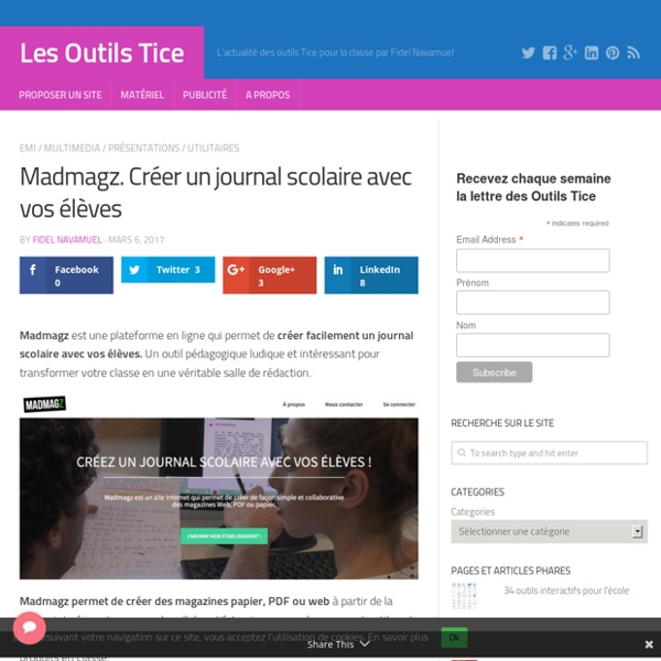 Madmagz. Créer un journal scolaire avec vos élèves – Les Outils Tice