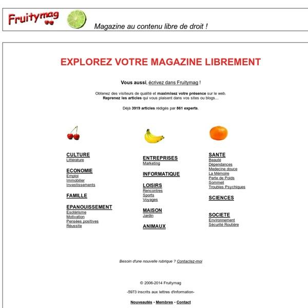 Magazine au contenu libre de droit - Fruitymag