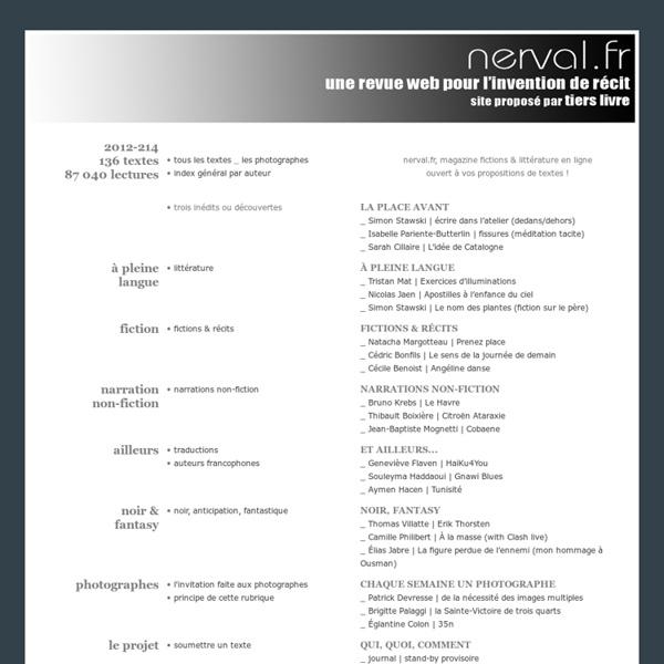 Nerval.fr, le magazine fictions en ligne & littérature