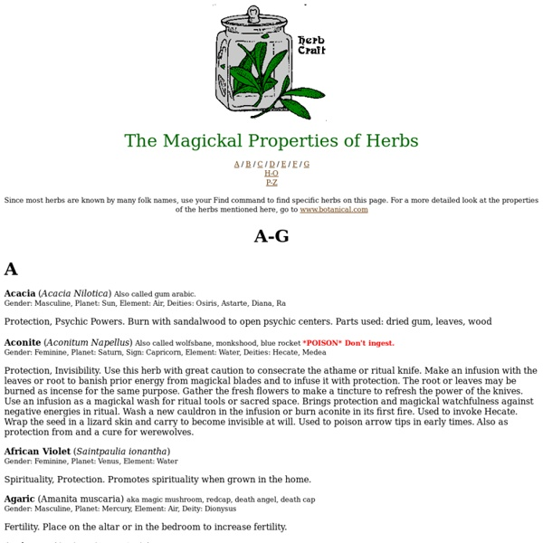 Magickal Uses of Herbs A-G