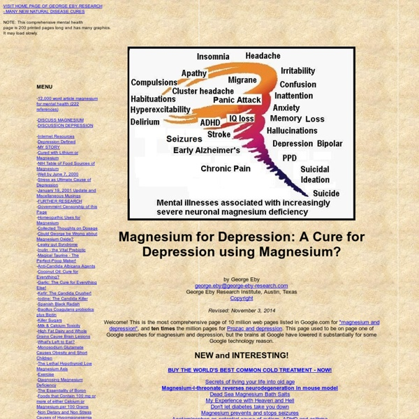 Depression Treatment: A Cure for Depression using Magnesium?