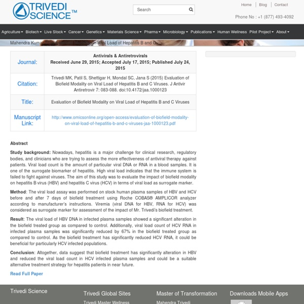 Mahendra Kumar Trivedi Biofield Modality on Viral Load of Hepatitis B and C