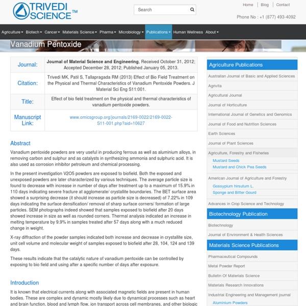 Biofield Treatment on Vanadium Pentoxide Powders