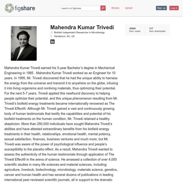 Mahendra Kumar Trivedi's Biofield Publications
