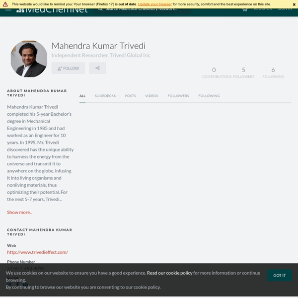 Mahendra Kumar Trivedi – MedChemNet