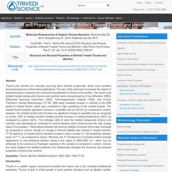 Assessment of DSC Study of Thymol