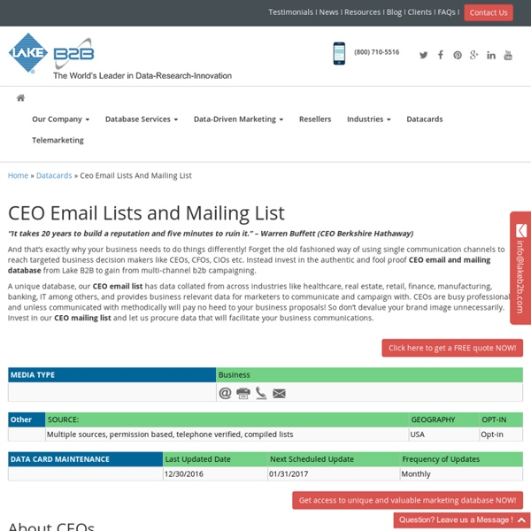 CEO Mailing Addresses