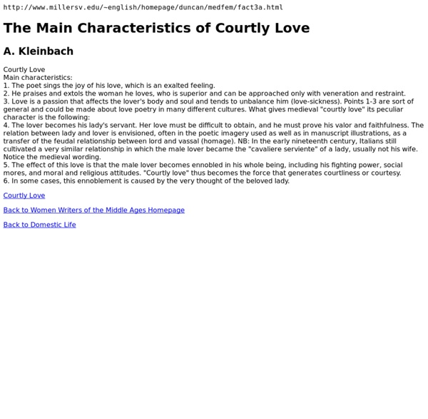 The Main Characteristics of Courtly Love