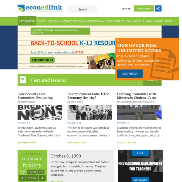 Economic lesson plans, Personal Finance lesson plans and resources for educators, students and afterschool providers