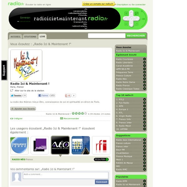 Radio Ici & Maintenant ! en ligne sur radio.fr - La radio sur internet avec plus de 7000 stations.
