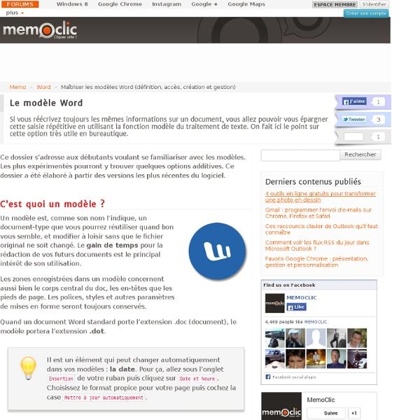 Maîtriser les modèles Word (définition, accès, création et gestion)