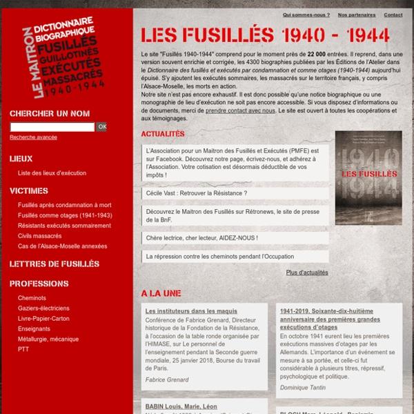 Les fusillés 1940 - 1944