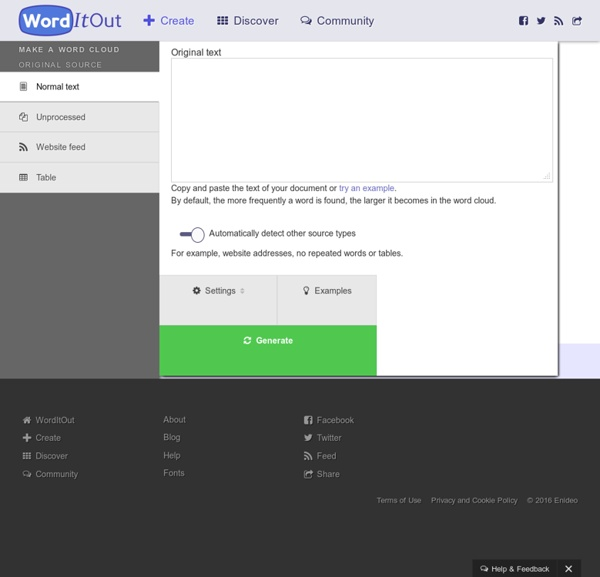 Make a word cloud - WordItOut