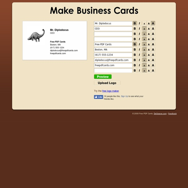 Make Business Cards - Free PDF Cards