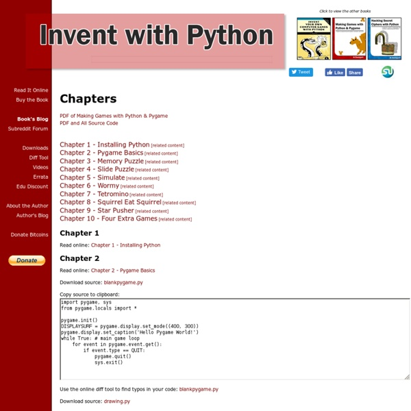 Making Games with Python & Pygame - Chapters