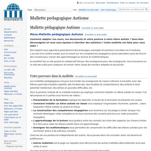Mallette pedagogique Autisme — Wikiversité
