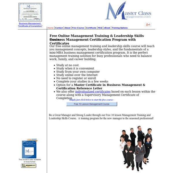 Free Online Business Management Training Leadership Skills