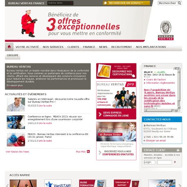 Bureau Veritas France : Management QHSE, inspection, certification, formation et conseil