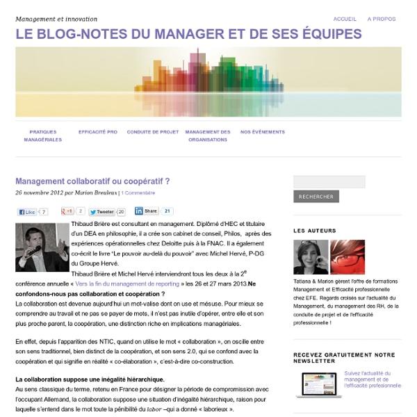Management collaboratif ou coopératif ?Le blog-notes du manager et de ses équipes
