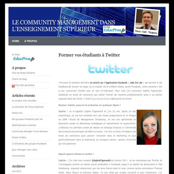 Le community management dans l'enseignement supérieur » Blog Archive » Former vos étudiants à Twitter