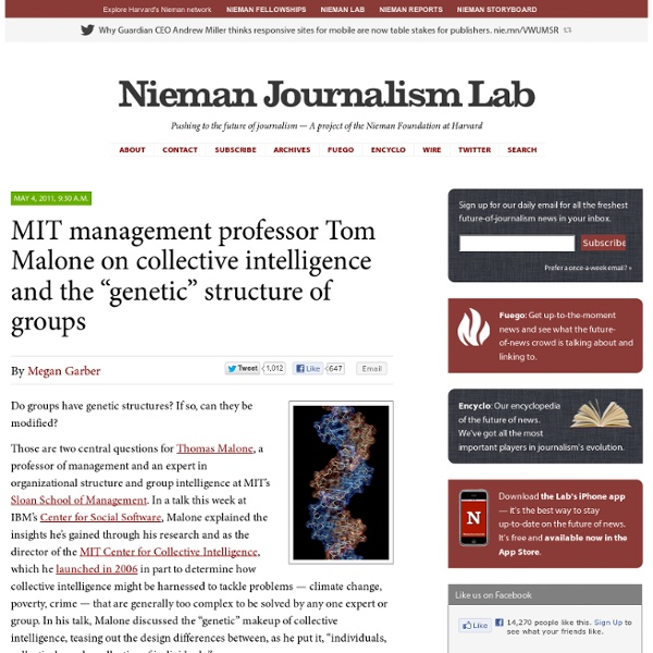 """MIT management professor Tom Malone on collective intelligence and the """"genetic"""" structure of groups"""