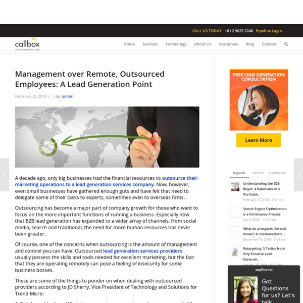 Management over Remote, Outsourced Employees: A Lead Generation Point