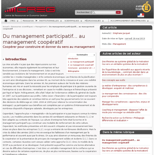 Du management participatif... au management coopératif