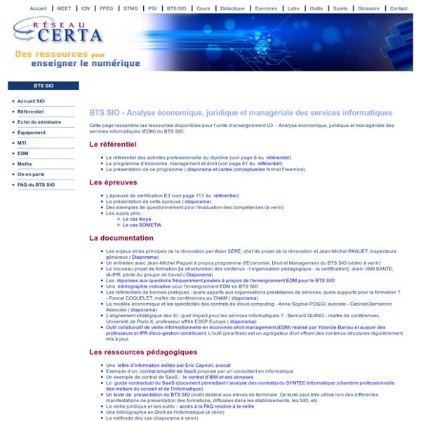 BTS SIO - Analyse économique, juridique et managériale des services informatiques