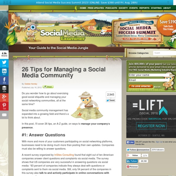 26 Tips for Managing a Social Media Community