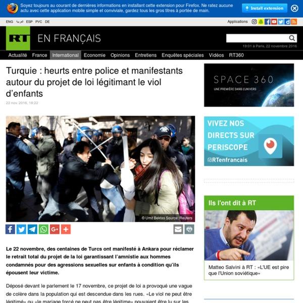 Turquie : heurts entre police et manifestants autour du projet de loi légitimant le viol d'enfants